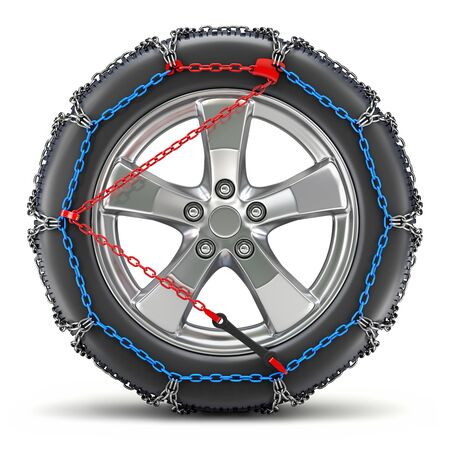 Car wheel with snow chain in side view - 3d illustration Standard-Bild - 132776321
