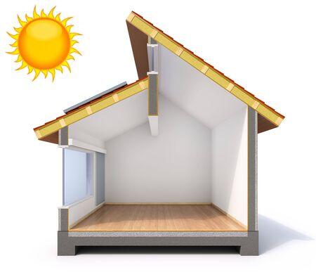 Passive solar house concept - 3D illustration