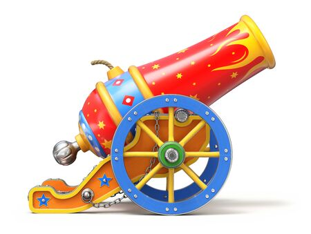 Colorful circus cannon on white background - 3D illustration