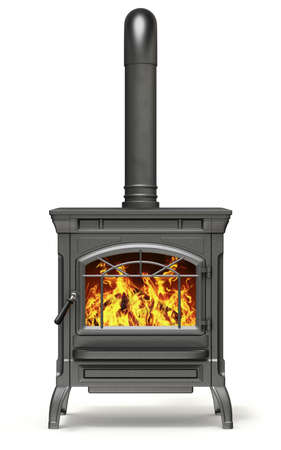 Wood burning stove with fire flame on white background - 3D illustration Stockfoto