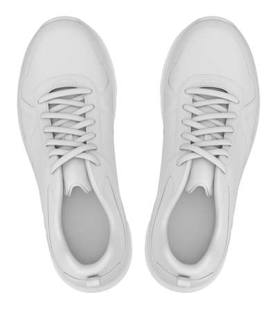 Clay render of top view of sport shoes on white background - 3D illustration