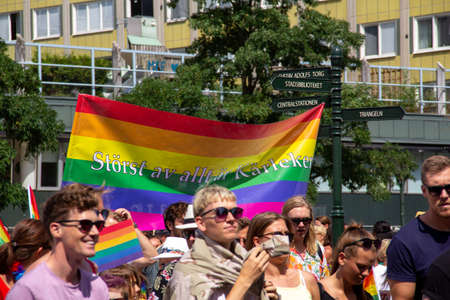Malmö, Sweden - July 20, 2019: A rainbow colored banner with the message of