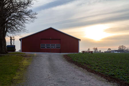 A red barn at the end of a gravel road in a farm landscape in southern Sweden (SkÃ¥ne, Scania) during dusk on a cold winter day with evergreen crops 免版税图像