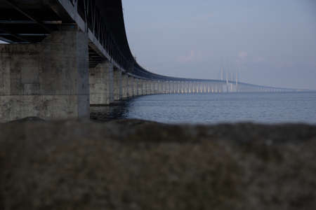 The Öresund bridge seen from below as it stretches out to sea from land Stockfoto