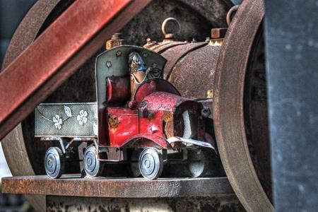 junkyard: Abandoned tin toy truck found in a train junkyard Stock Photo