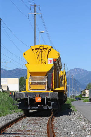convoy: Freight train car at the end of a railroad convoy Stock Photo