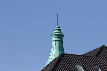 church steeple: Church steeple against blue skies