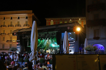 estival: Lugano, Switzerland, July 10,2015: the band LES AMBASSADEURS with Salif Keita playing in Piazza Riforma at Estival Jazz in Lugano