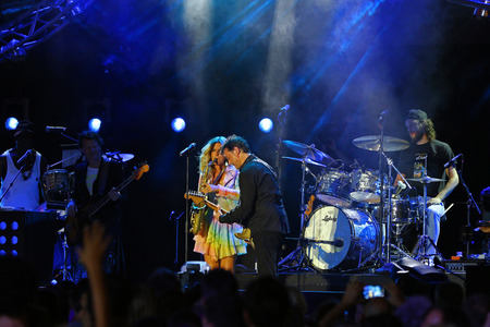 estival: Lugano, Switzerland, July 10,2015: Candy Dulfer Band playing at Estival Jazz in Lugano Editoriali
