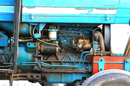 old tractor: Old tractor diesel engine detail Stock Photo