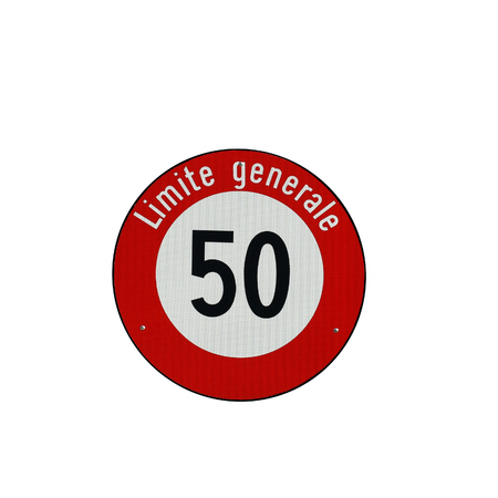 city limit: General speed limit sign in Switzerland on city streets isolated on white