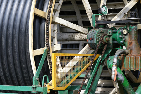 agriculture industrial: Industrial water hose for use in agriculture detail Stock Photo