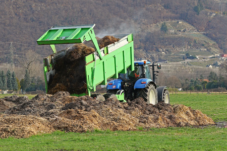dumping: Tractor with trailer dumping manure Stock Photo