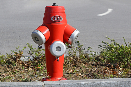 fire hydrant: Red fire hydrant