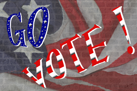 civic: Go vote ! on american flag brick wall background presidential campaign Stock Photo
