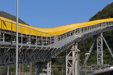 Conveyor belt detail on mining site