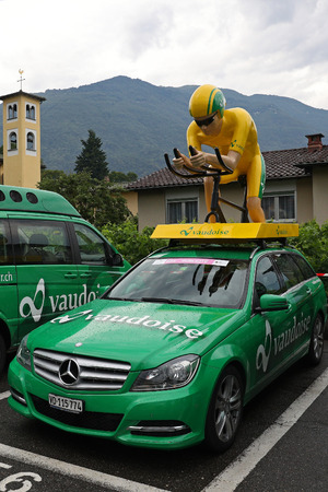 Ascona, Ticino, Switzerland, June 14, 2017: wet Vaudoise main sponsor vehicles parked in Ascona at the end of the first leg of the 2017 Tour de Suisse Editorial