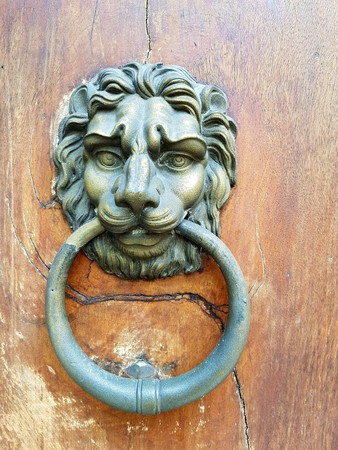 Antique,brass door knocker in the shape of a lions head with large ring in its mouth on an old wooden door
