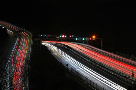 Monte Ceneri state highway and freeway traffic blur at night Stock Photo