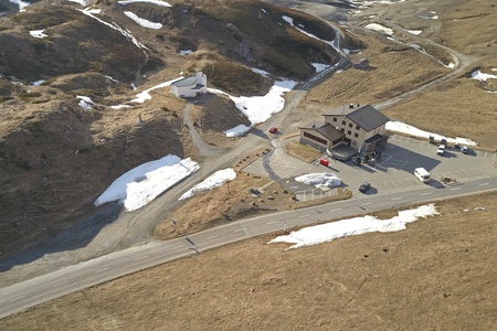 Lucomagno Pass in early spring aerial view Stock Photo