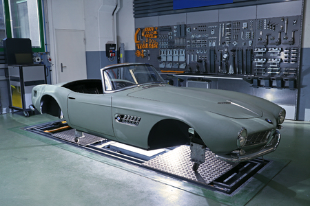 Lugano, Switzerland,January 3rd, 2018:early stages of a ground-up restoration of one of the few ramaining BMW 507 Roadster of the 250 ever built between 1955 and 1959 Editorial