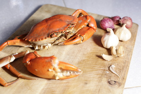 marine crustaceans: steamed crab on white background. Stock Photo