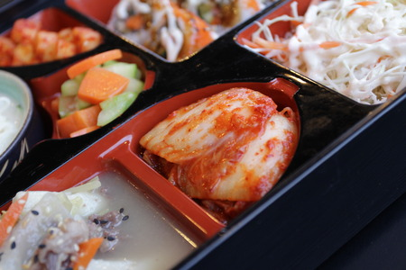 bap: Japanese Bento Lunch .box of fast food with smoked eel. Stock Photo