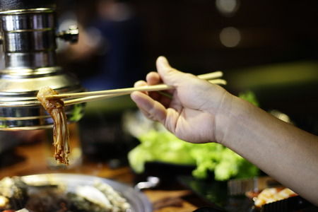 yakiniku: Raw beef slice for barbecue or Japanese style yakiniku. Stock Photo