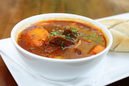 french ethnicity: Vietnamese-Style Beef Stew Bo Kho , with bread Stock Photo