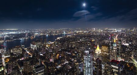 aerial view of manhattan new york at night 写真素材
