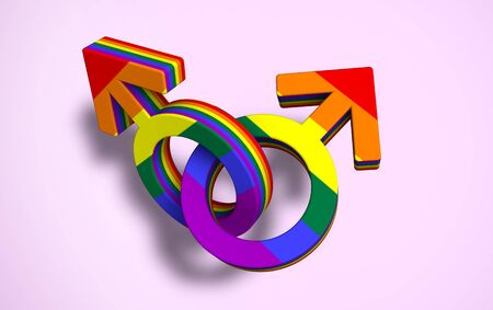 Two linked male symbols colored pride flag, pride day. alliance concept