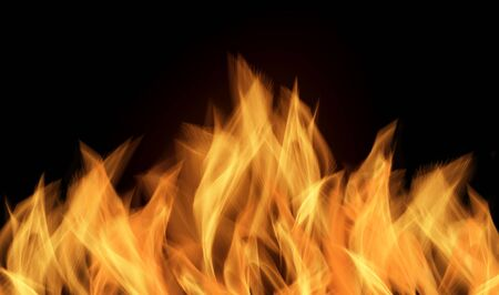 Fire flames on black background, flames isolated Stock Photo