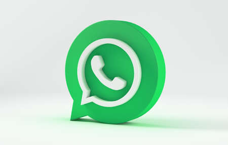 WhatsApp icon isolated on white background. 3D Illustration