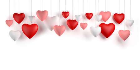 Hanging hearts. Valentines day greeting card design on white background