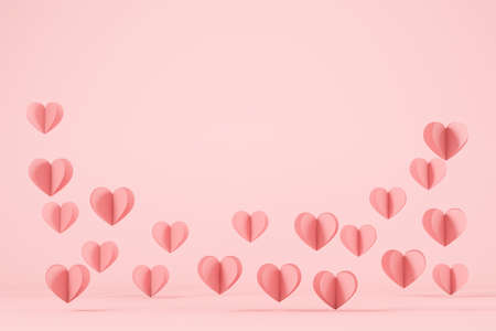 Cutout hearts flying on pink background, copy space 版權商用圖片