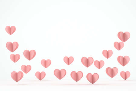 Cutout hearts flying on white background, copy space 版權商用圖片