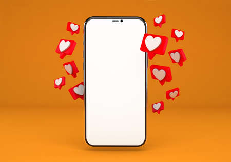 Smartphone with heart icons and blank screen passes its design, isolated from the orange background 版權商用圖片
