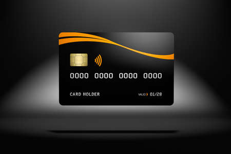 Black credit card mockup, dark background, 3d rendering 版權商用圖片