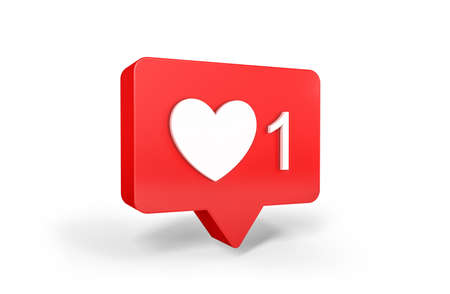 One like social media notification with heart icon. 3d rendering