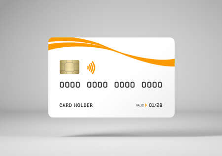White credit card mockup, white background, 3d rendering