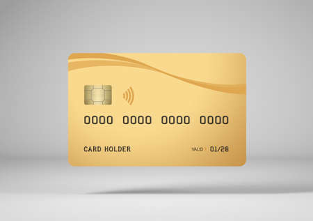 Gold credit card mockup, white background, 3d rendering