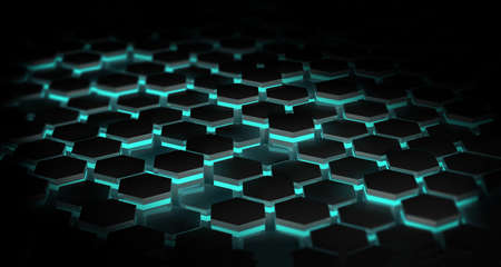 Abstract dark background with hexagons illuminated with blue lights. technology concept