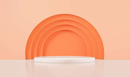 Podium for product with orange circles, 3d rendering