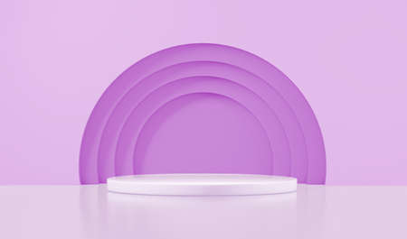 Podium for product with lilac circles, 3d rendering