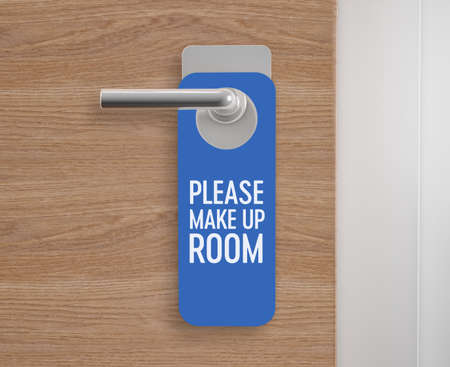 Make up room, door hanger at the door. 3d rendering