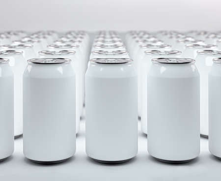 Aluminum cans of soda front view in 3d rendering