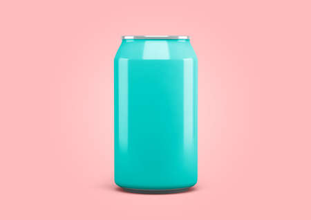 Soda can front view, pastel colors. 3d rendering 版權商用圖片