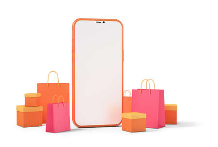 Smart phone with shopping bags and product boxes, online shopping concept