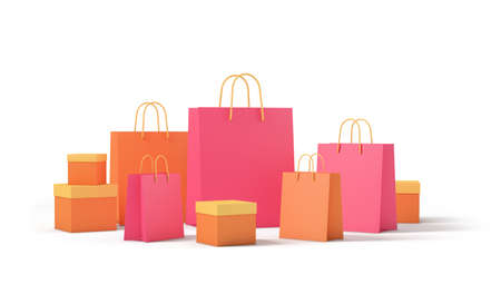 Product package boxes and shopping bag isolated from the white background. shopping concept