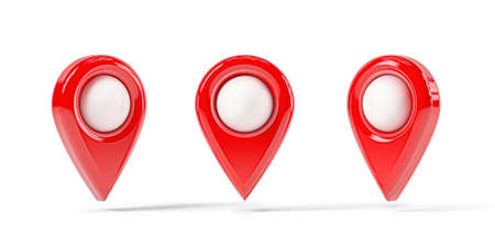 Red map point in different positions, location pin isolated from the white background Reklamní fotografie